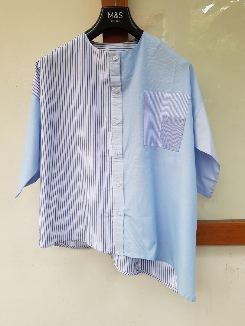 Monday to Sunday Sweet Blue Assymetrical Shirt
