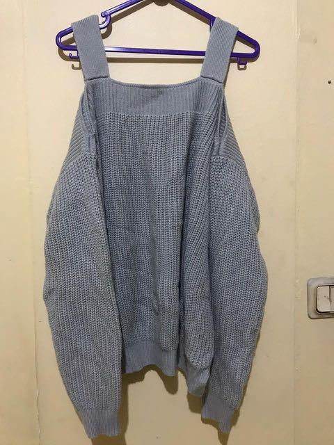 New atasan baju sabrina knit top rajut abu abu loose fit to xxl