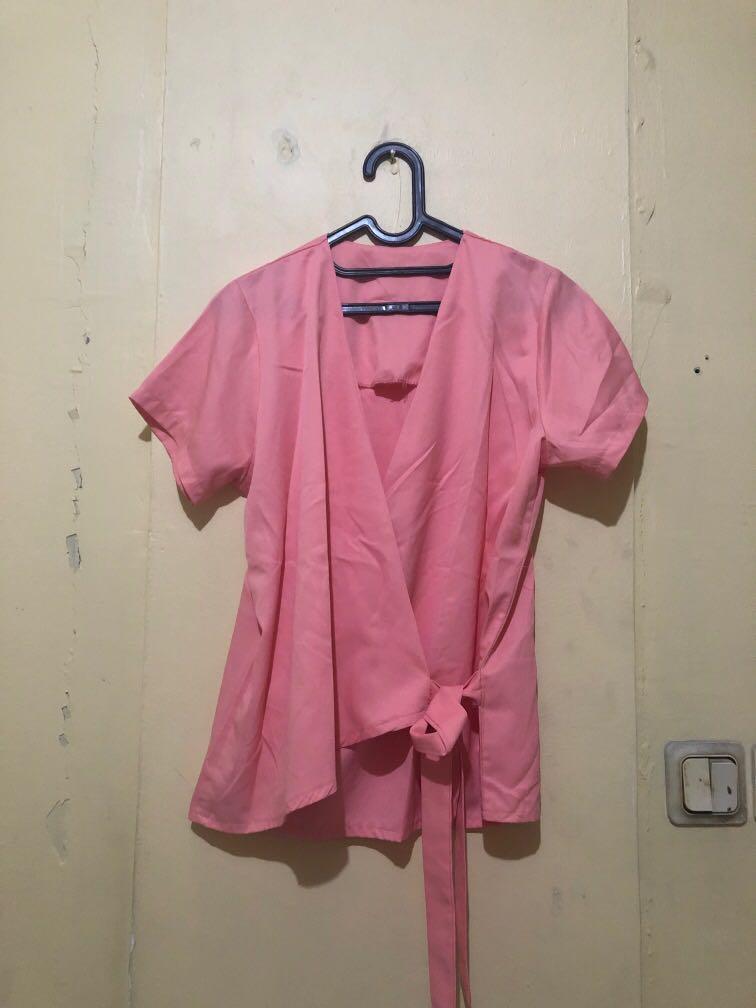New baru baju atasan pink busui friendly nursingwear menyusui kimono fit to XL