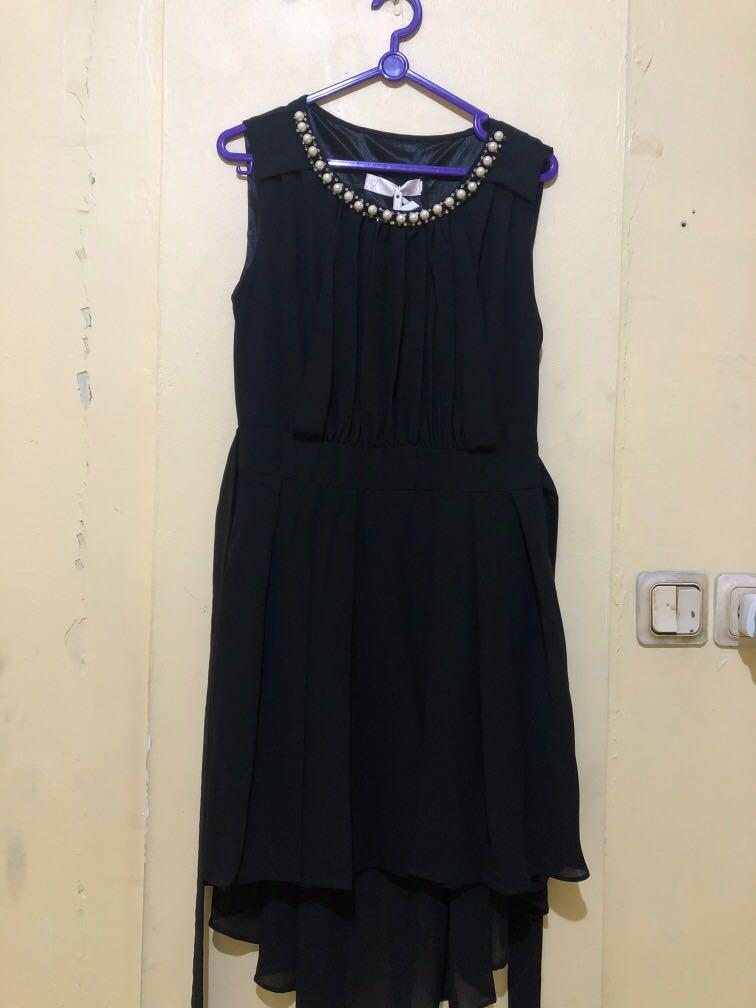 New dress hitam black dress asimetris ada tag