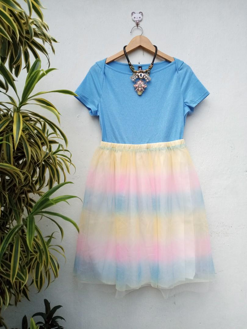 New rainbow tutu korean dress