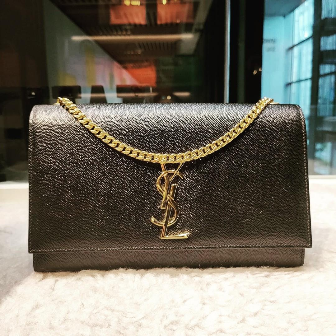 New YSL Kate medium black grained with gold chain