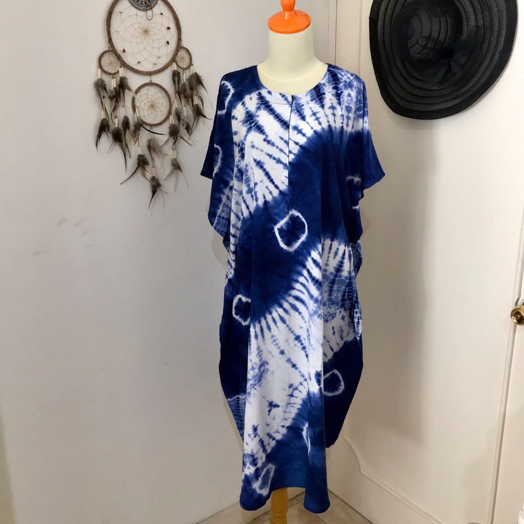🌟NEW🌟Kaftan Tiedye batwing Home Dress Blue Shibori (Baca Diskripsi) #promodressaja