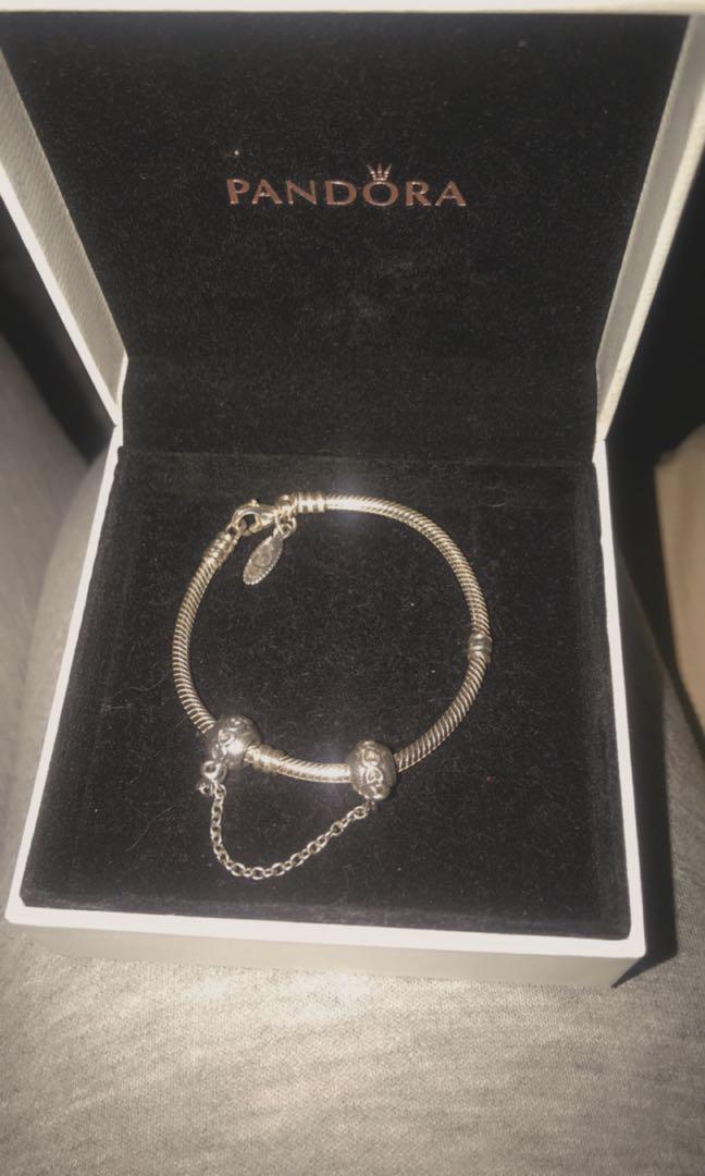 Pandora bracelet with safety chain charm