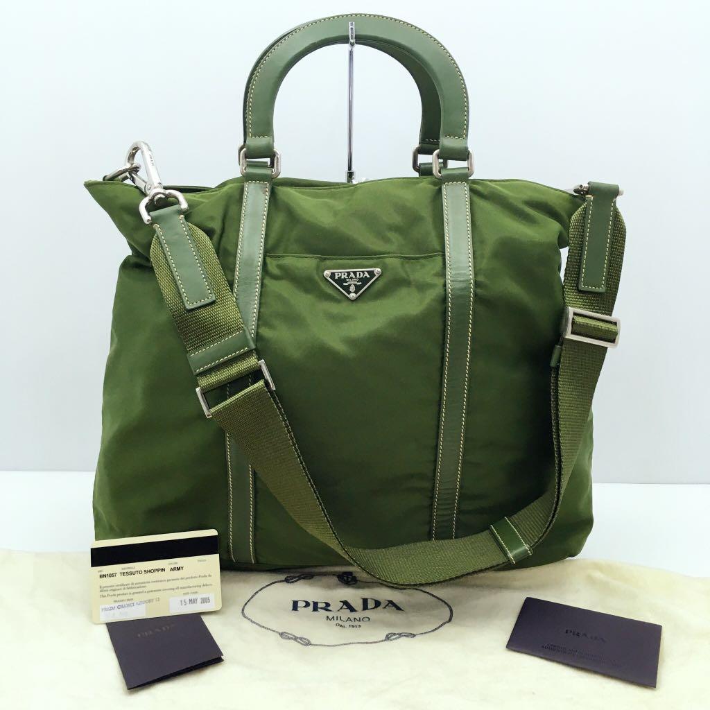 Prada BN1057 Green Nylon 2 Way Bag 207007932 >