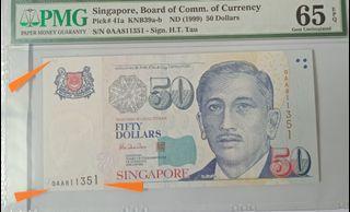 Print error, First prefix, PMG graded, protrait $50 HTT note, 1 pc.