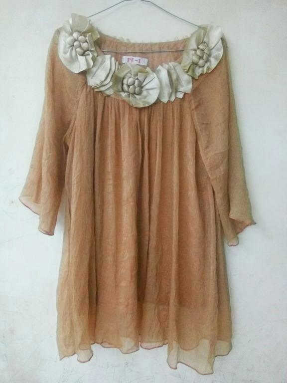 #promodressaja Dress Bunga Gold - PF-1