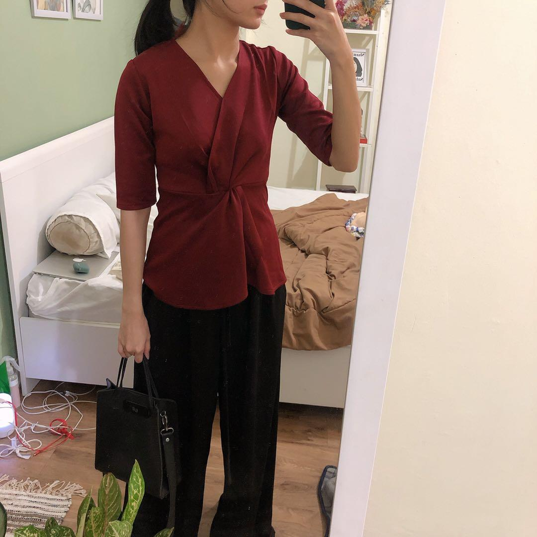 Red Knitted Crepe Top / Blouse