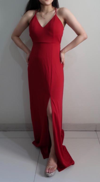 Red long dress/ Dress panjang merah (NEW)