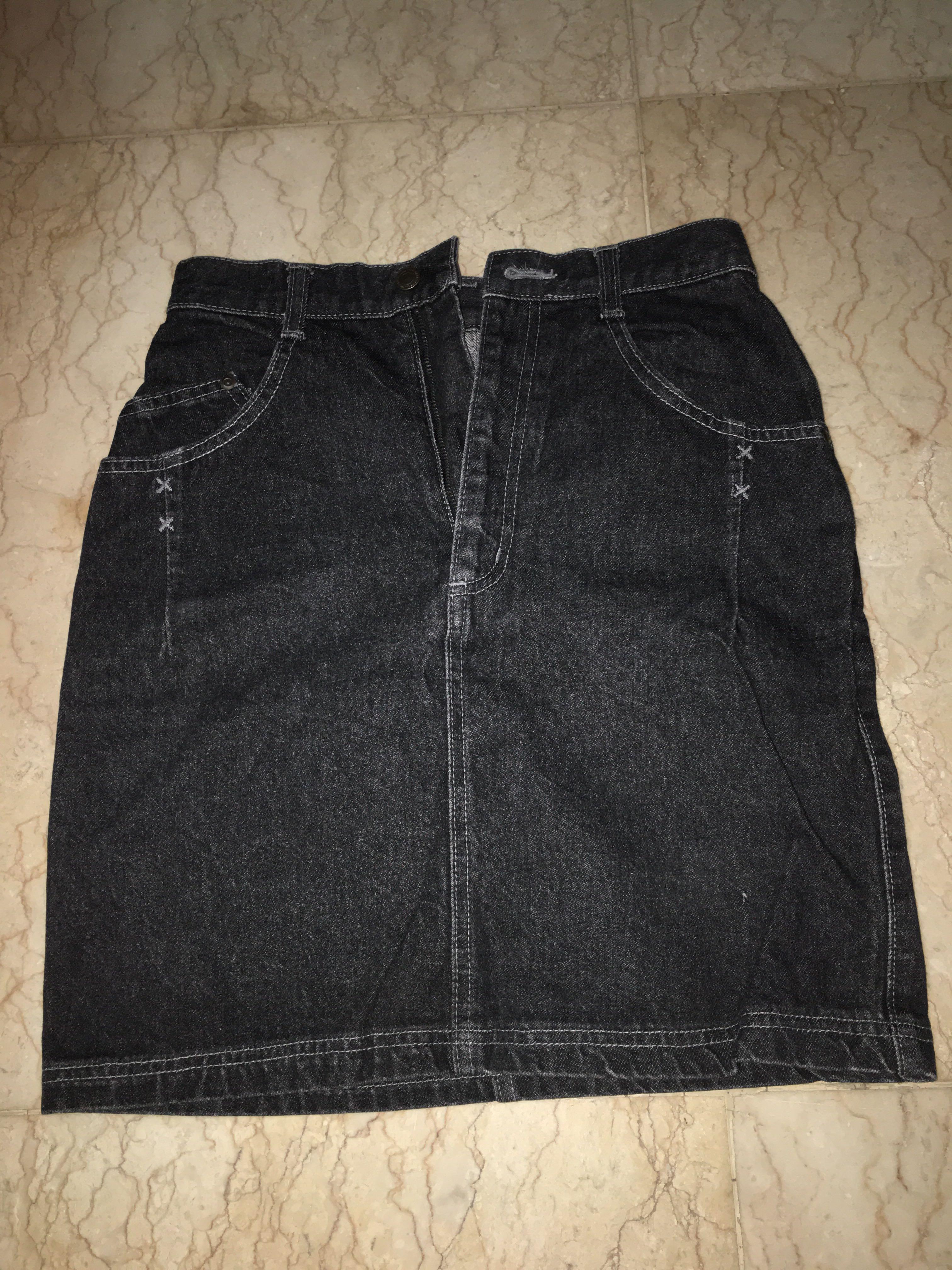 Rok Jeans Hitam Span