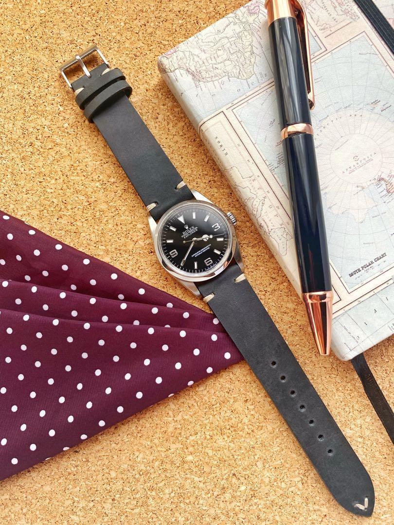 Rolex Explorer 1 114270 on a Time Baubles Vintage Hide Slate Watch Straps