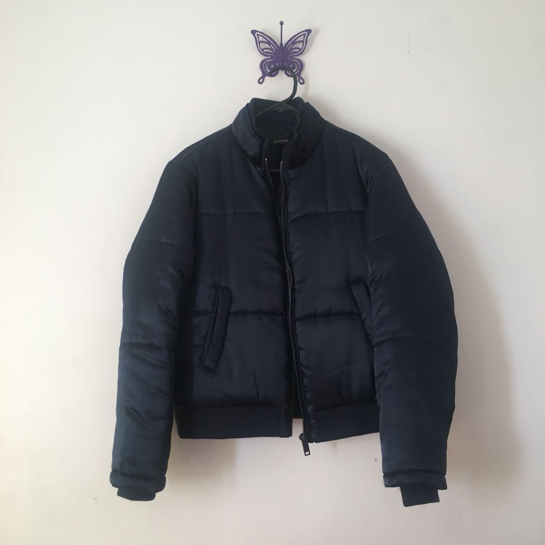 satin navy blue puffer jacket