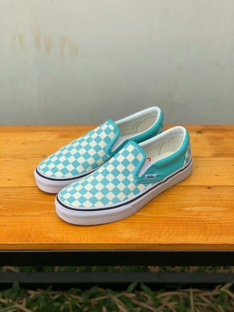 Sepatu Vans Slip On Checkerboard Aqua Haze
