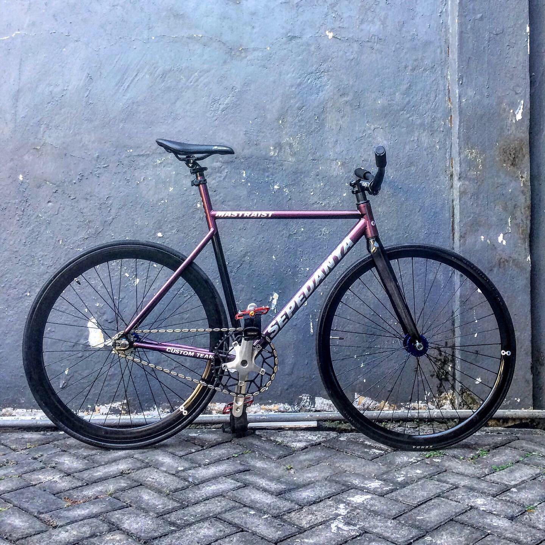 Sepeda Fixie Fixed Gear Frame Chromoly Custom Chromoly size 54 Fork Full Carbon bukan MTB Roadbike BMX