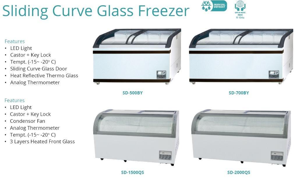 SLIDING CURVE GLASS FREEZER (SD-1500QS)