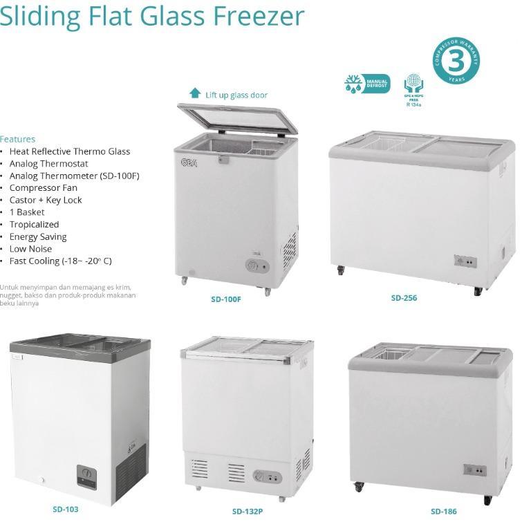 SLIDING FLAT GLASS FREEZER (SD-132P)