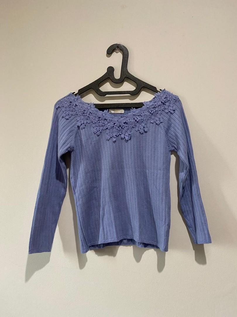 Soft Purple Floral Sabrina Knit Top