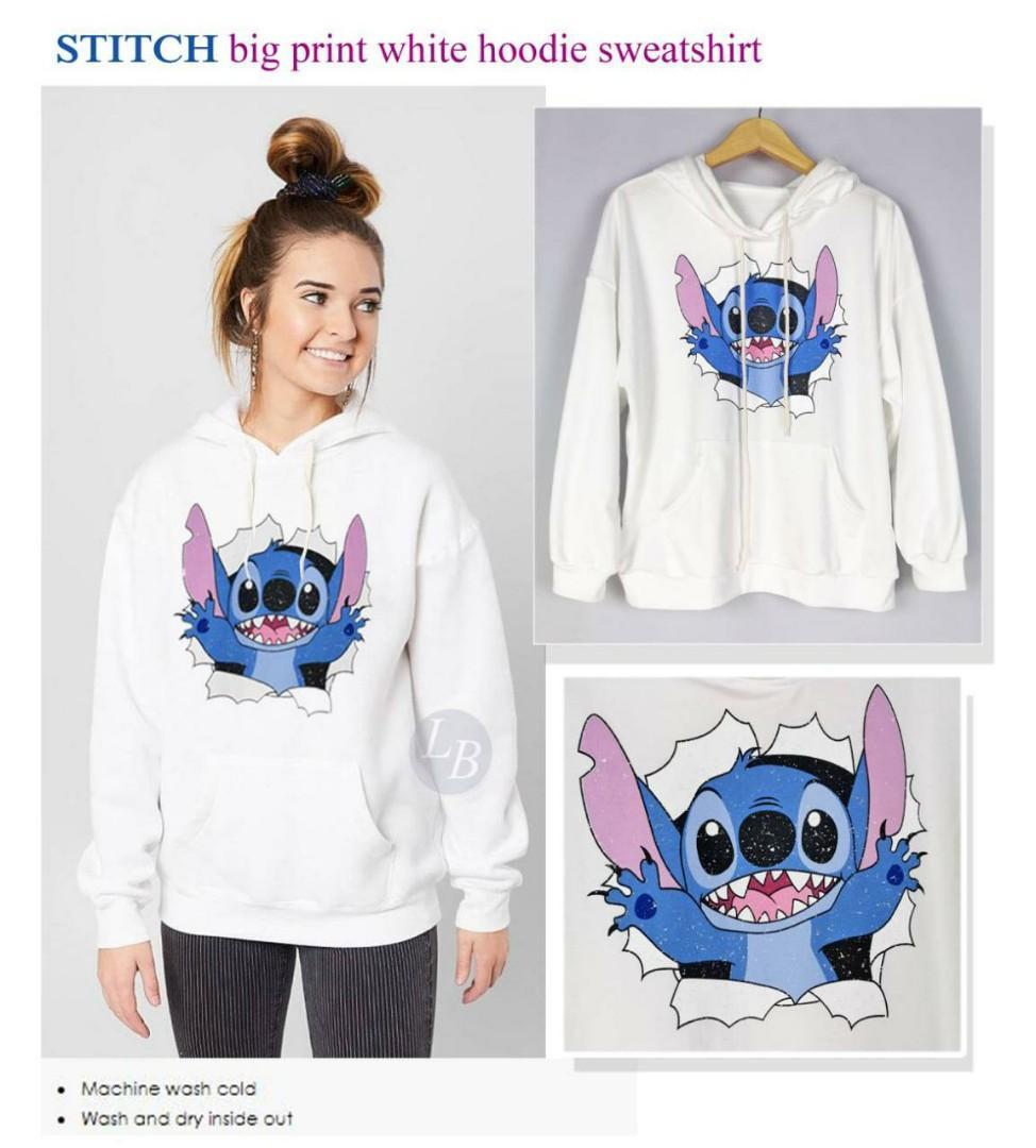 Stitch white hoodie  sweatshirt