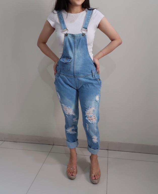 Suspender Long Pants Romper Jeans Jumpsuits Denim / Baju Kodok Jeans Panjang