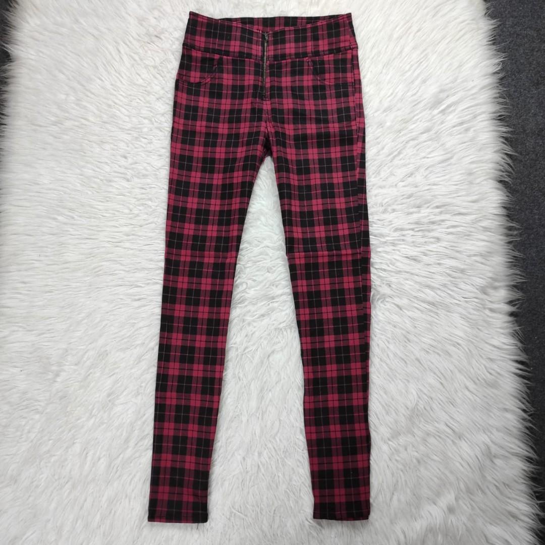 Tartan Pants Highwaist Cotton stretch