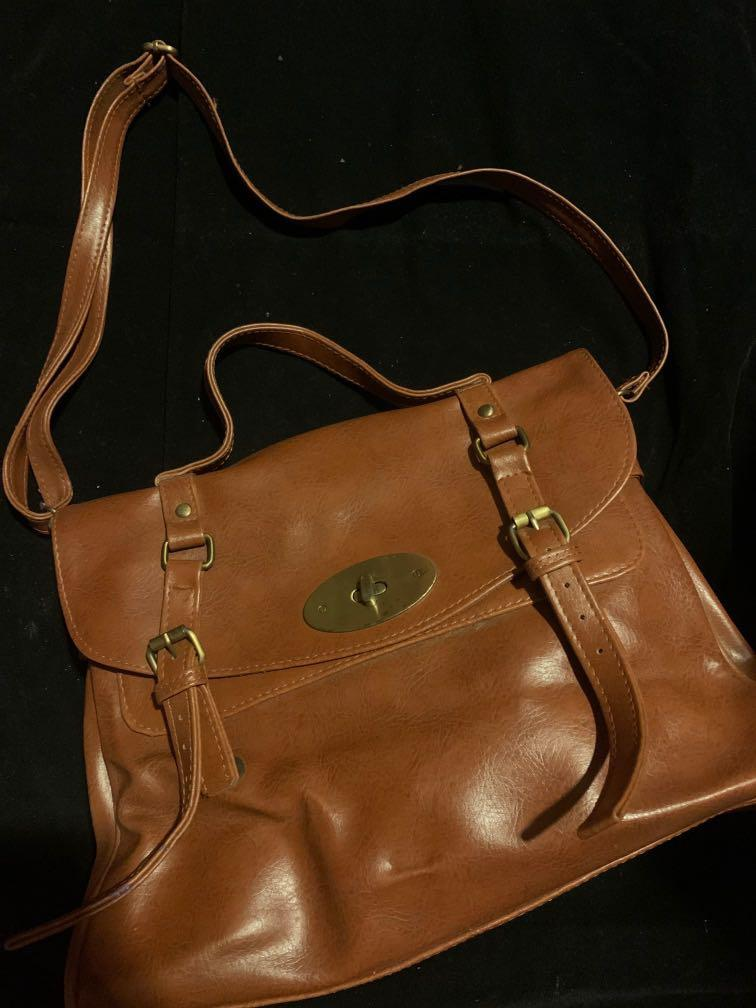 Tas vintage cokelat coklat brown medium satchel bag  (good quality)