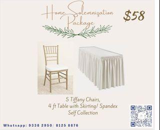 Tiffany chair with table and skirting home solemnisation package 12•12 promotion