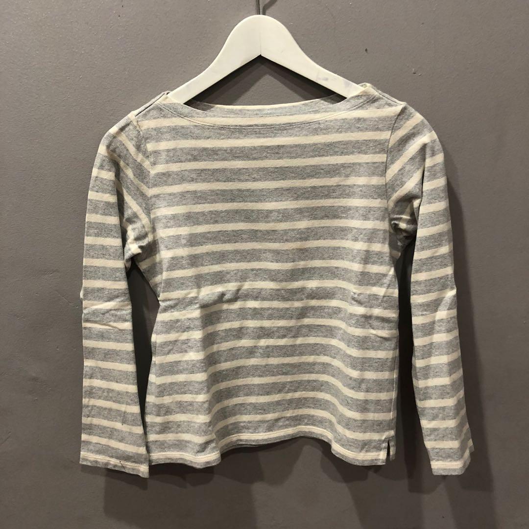 Uniqlo gray striped top