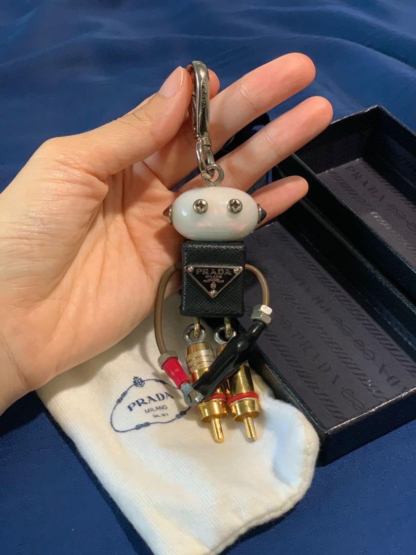 [used] PRADA Saffiano Leather Robot Trick Keychain
