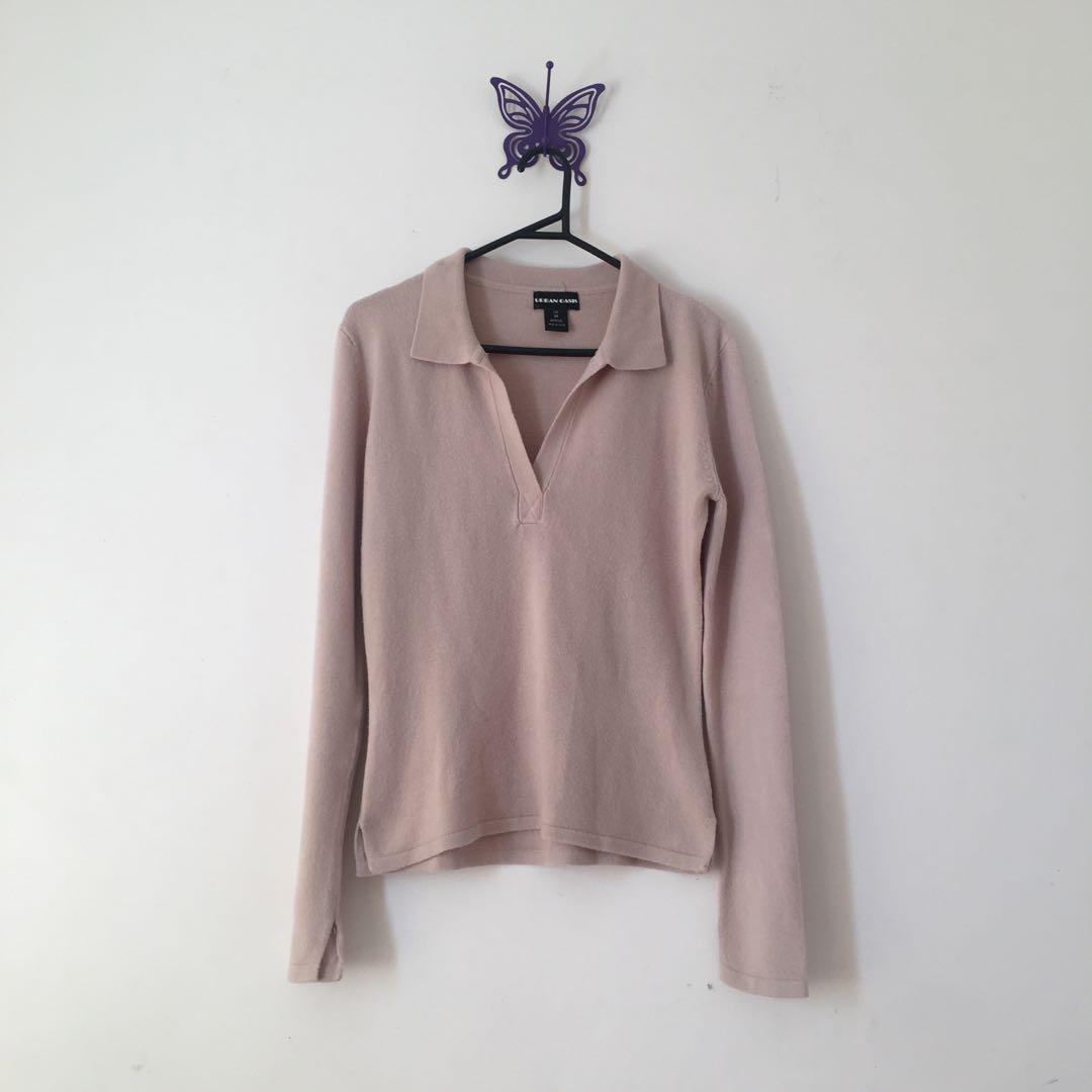 v neck collar long sleeve/sweater