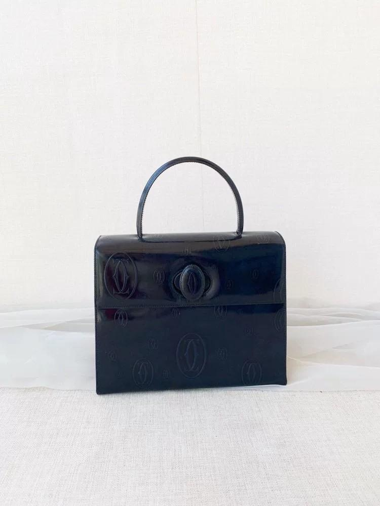 Vintage Cartier Structured Handcarry Bag in Black