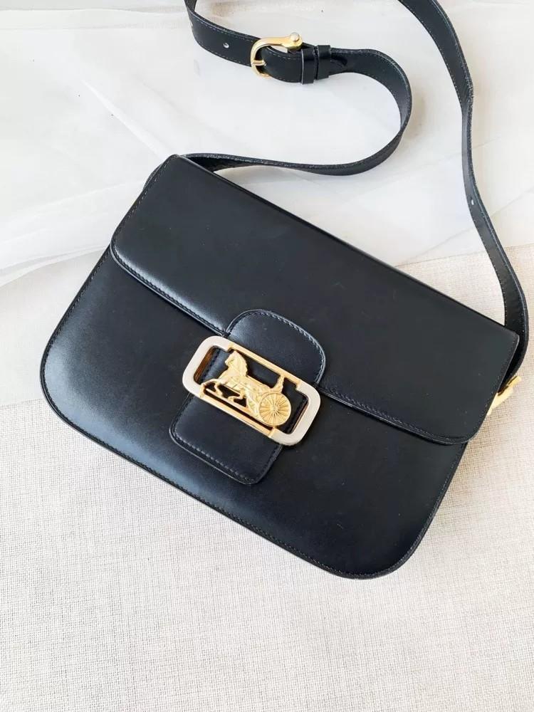 Vintage Celine Structured Crossbody Bag in Black
