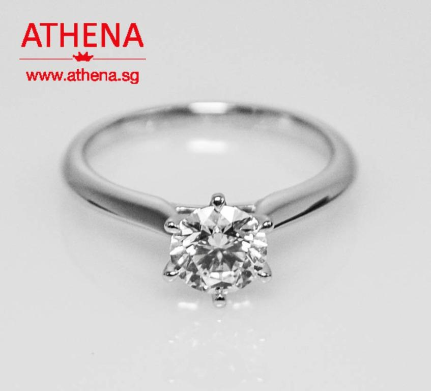 WL_DR_446  JEWELLERY 18K WG SOLITAIRE DIAMOND RING D1-0.51CTS 1.98G { SIZE 6 }