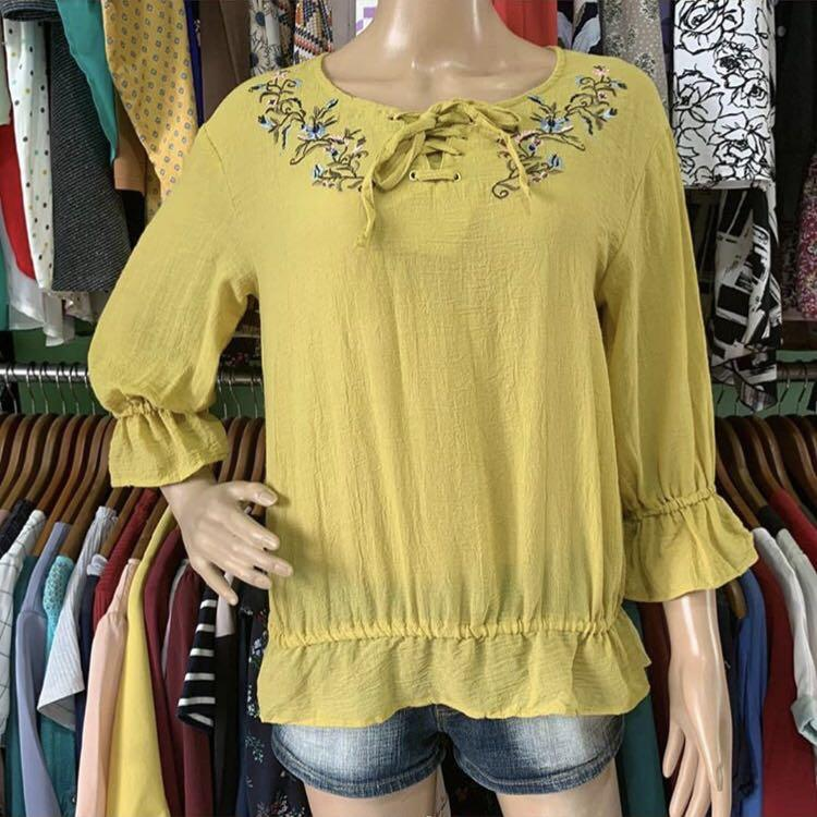 Yellow flower blouse