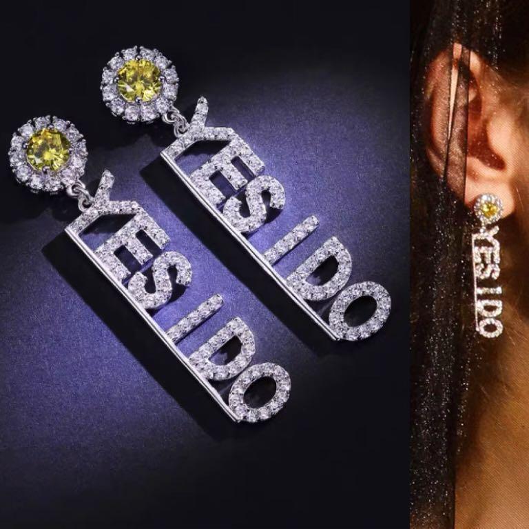 YES I DO鋯石耳環