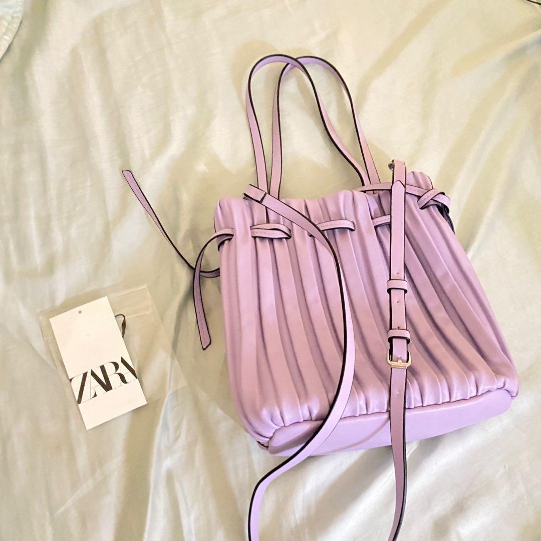 Zara全新 皺摺 最流行紫色 偽羊皮軟包 手提側背 全新