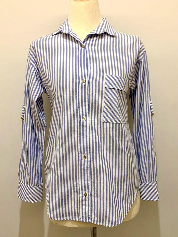 Zara blue stripe shirt / baju garis biru
