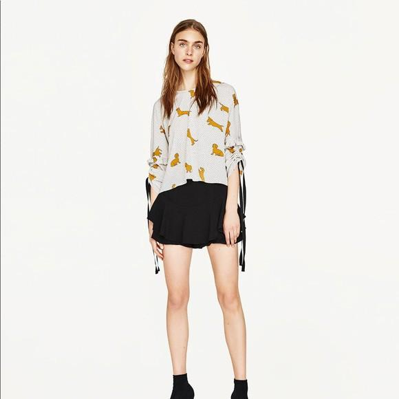Zara dogs dots pattern blouse