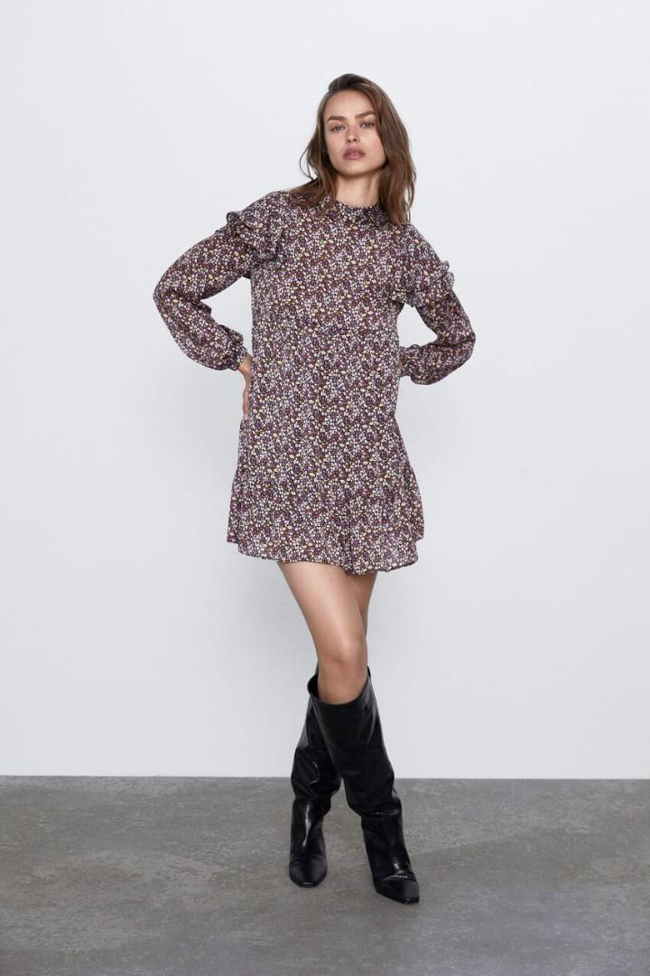 Zara floral printed long sleeve dress