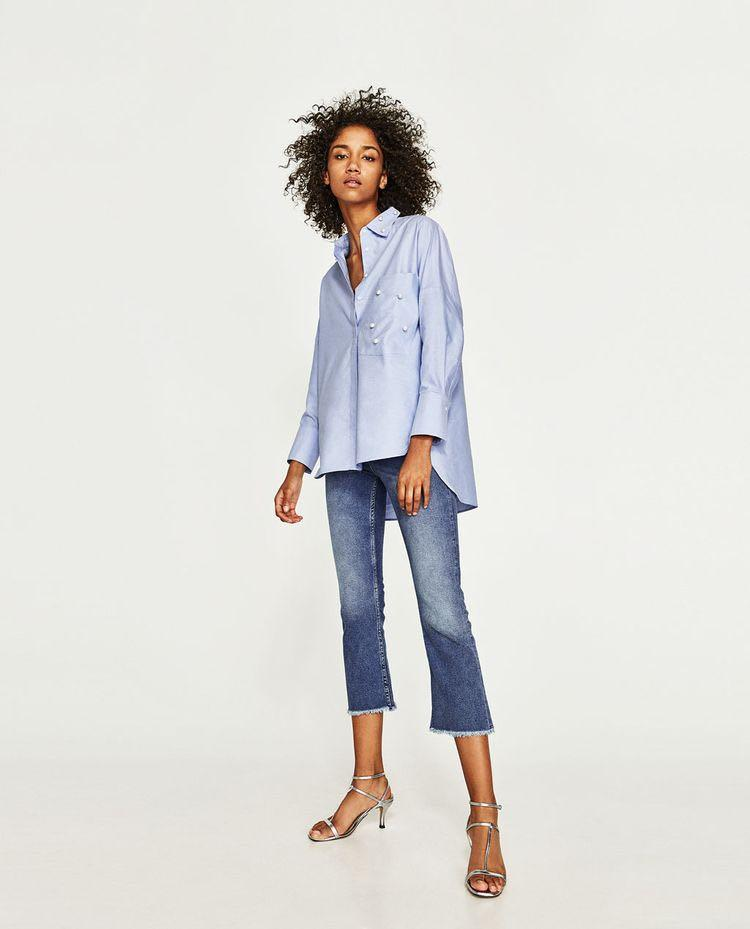 ZARA Oxford Oversized Shirt With Faux Details