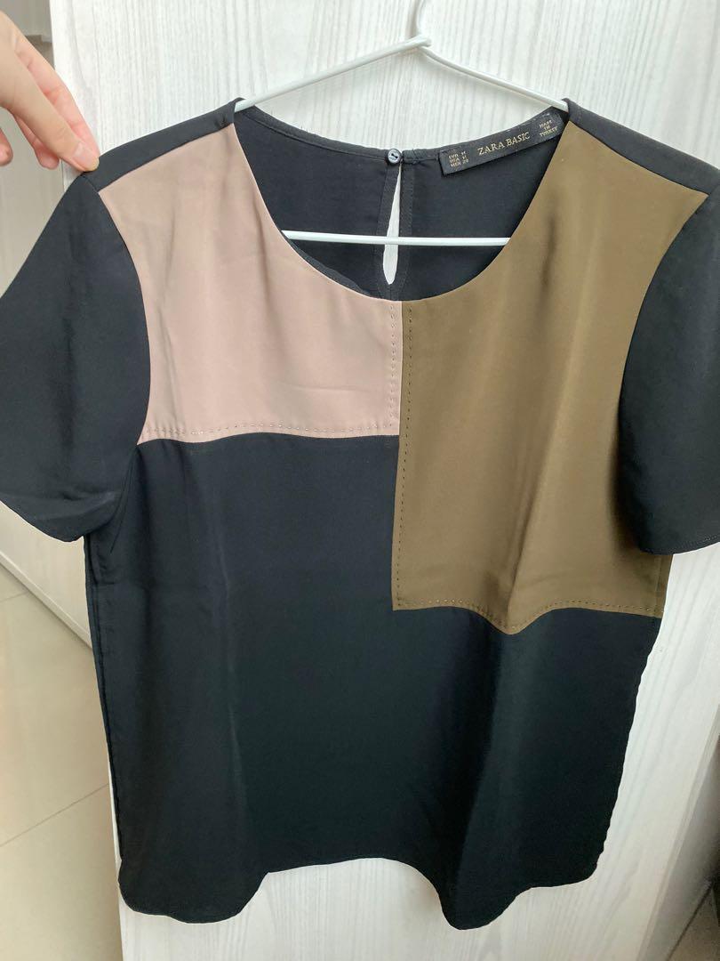 Zara top black brown