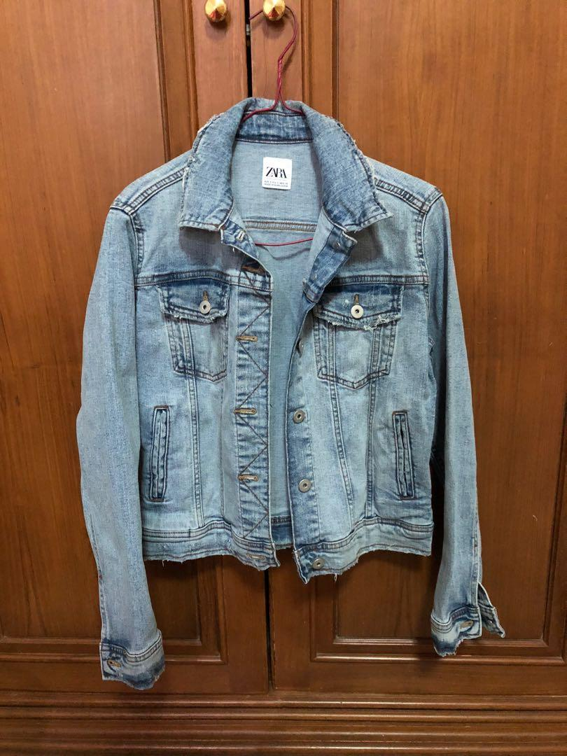 zara washed denim jacket (100% original) (bisa nego)