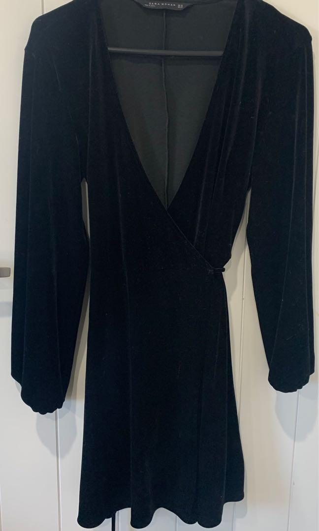 Zara Woman black velvet wrap dress
