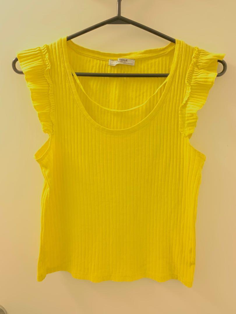 Zara yellow frilly top