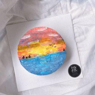 """6"""" abstract cake (sunset)"""