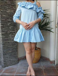 Chantal Outlet Shop - Blue One Shoulder Frill Dress 40 - Dress Wanita/Dress Korea/Dress Frill
