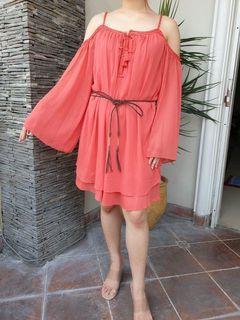 Chantal Outlet Shop - Dress Coral Off-Shoulder 37 - Dress Wanita/Dress Off Shoulder/Dress Cantik
