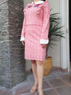 Chantal Outlet Shop - Pink Lace Dress White Collar 31 - Dress Wanita/Dress Cantik/Dress Pink
