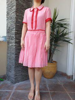 Chantal Outlet Shop - Pink Silk Dress Red Border 38 - Dress Wanita/Dress Pink/Dress Cantik
