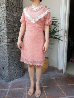Chantal Outlet Shop - V neck Pink Lace Dress 39 - Dress Renda/Dress Pink/Dress Cantik/Dress Wanita