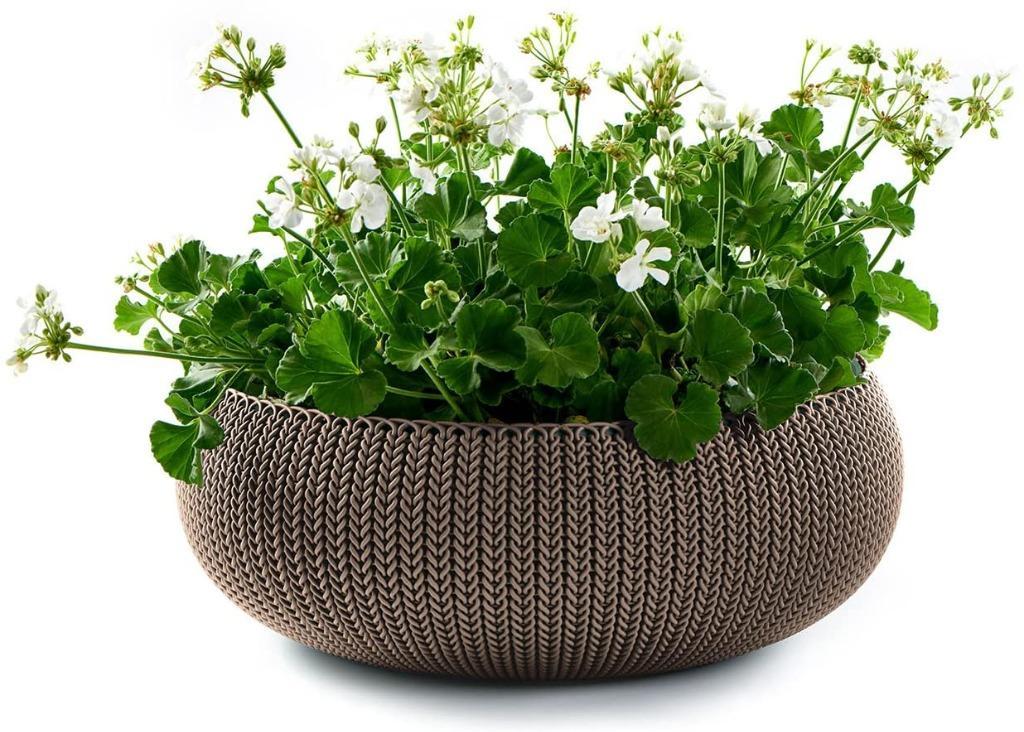 "(chk) x Keter Cozies Large Plastic Knit Texture 21"" Table Top Floor Plant Bonzai Flower Pot Planter Bowl with Removable L"